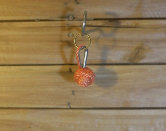 Orange Monkey's Fist Keyring, hand made from 4mm PolyPropylene rope