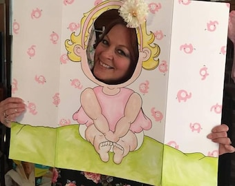 Baby Shower Photo Booth Fun Board (Who does she look like?)
