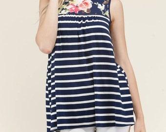 Floral Stripe Top
