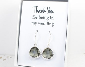 Charcoal Silver Earrings, Silver Gray Earrings, Bridesmaid Gift, Charcoal Wedding Jewelry, Bridesmaid Earrings, Charcoal Bridal Accessories