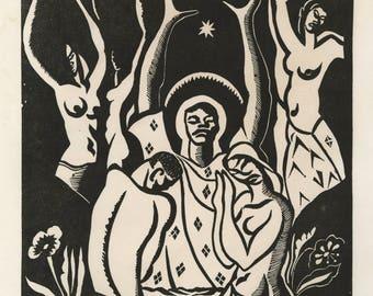 "ALBERT HUIE (Jamaican/American, 1920-2010), ""The Baptism"", 1943, original woodcut, pencil signed."
