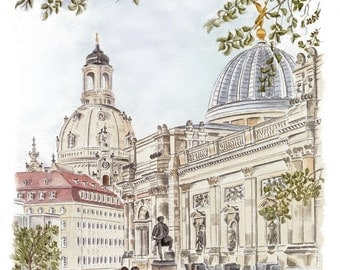 Panoramic view from the Brühl's terrace - color - original signed art print