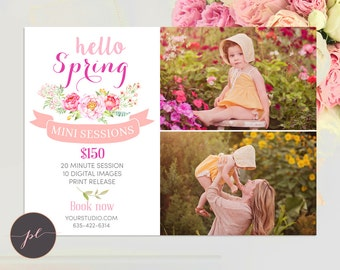 Spring Mini Session template, Spring Photography, Spring Marketing, Photoshop Template, Instant Download, Floral Template