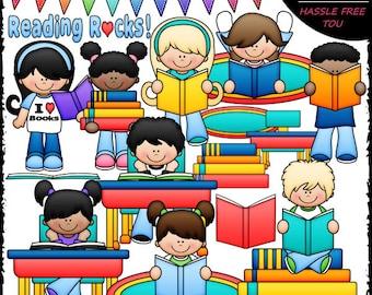 Reading Rocks Kids Clip Art and B&W Set