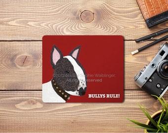 Mousepad Bull Terrier, Bull Terrier Art, Bull Terrier Mousepad, Bull Terrier Gift, Bully Lover, Bully Accessories, Desk Accessories