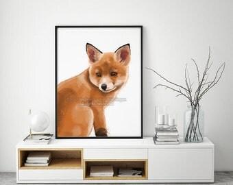 Fox Print, Fox Painting, Nursery Wall Art, Fox Wall Art, Nursery Art Prints, Kids Room Decor, Living Room Wall Art, Spirit Animal, Fox Art