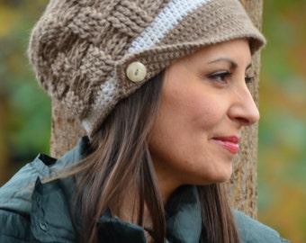 Crochet newsboy hat, winter hat women, newsboy cap, knitted brown hat, women alpaca hat, chunky hat crochet, women gift, hat with buttons
