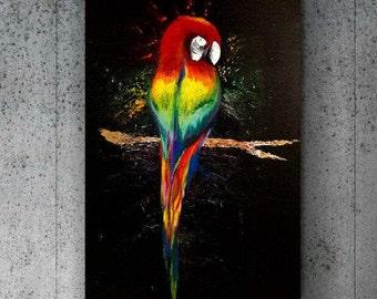Acrilic Canvas Handmade Art painting, Parrot Colors acrylic 110/80 By Esti Levi