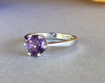 Round Genuine Amethyst Stone Solid Sterling Silver Engagement Ring, Round 6 Prong Sterling Silver Purple Amethyst Promise Solitaire Ring