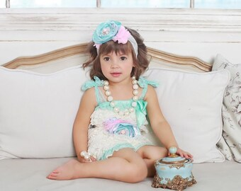 BABY SET - PICK items, lace romper, necklace, flower belt and headband