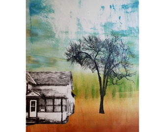 Giclée Print of Monotype & Image Transfer by Sarah Hallman - Spring House