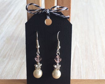 Handmade drop Swarovski bead earrings