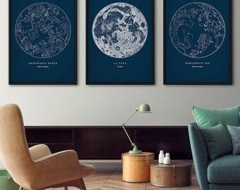 Star map prints set of 3, Star maps, Star chart print, Constellations chart, Moon print, Start charts, Moon poster, Constellation art