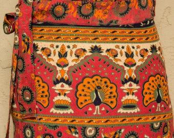 Orange Block Print Wrap Skirt India Cotton Skirt Boho Skirt 70s Style Bohemian Skirt Indian Wrap Skirt Kalamkari Skirt Ethnic Hippie Skirt