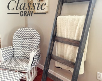 Rustic Blanket Ladder | Quilt Ladder | Farmhouse | Towel Ladder Rack | Blanket Ladder Rack | Decorative Wooden Ladder | Throw Blanket Ladder