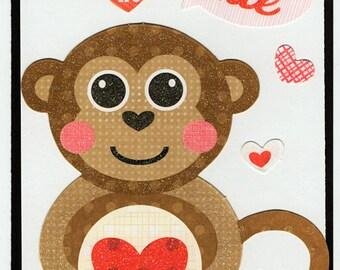 Monkey Love Valentine Paper Piecing Premade Scrapbook Card