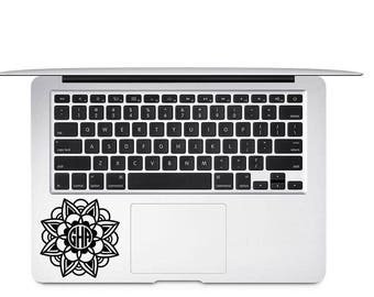Flower Monogram Decal, Flower Decal, Monogram Vinyl Decal, Mandala Monogram, Laptop Decal, Tumbler Decal