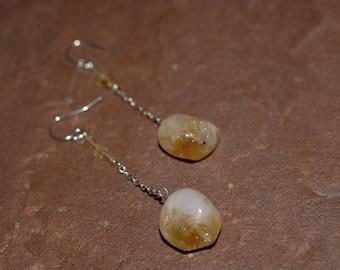 citrine nugget dangle earrings