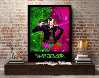 The Joker, Poster, Print, Crazy, Arkham Asylum, Clown, Puddin,  Villain, DC, Insane, wall, art, gift, gift for him, gift for her