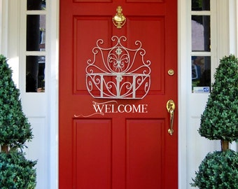 WELCOME DOOR DECAL, Custom Door Decor, Welcome, Wall Decor Decal, Lettering, Custom Size and Colour, Removable Vinyl