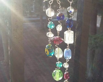 Glass Beaded Sun Catcher, Handmade, Recycled Art, Wire Wrapped, Unique, Home/Garden Decor