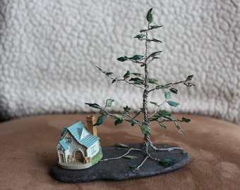 Wire Wrap Tree and Alligator Garfish Scales with Miniature Ceramic House