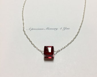 Swarovski Cube Necklace Sterling Silver Necklace  Bracelet Set Red Garnet Birthstone Single Stone Necklace- (Af) FREE DOMESTIC SHIPPING