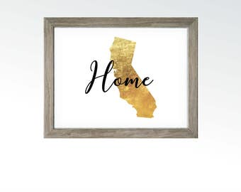 Home Wall Decor - California State - Gold Leaf Foil Image - Hollywood Surfing PCT Wine Country Parks - DIGITAL DOWNLOAD printable art