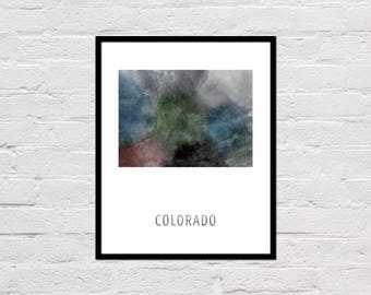 Colorado Map Print, Printable Colorado State Map, Colorado Art Print, Colorado Printable Wall Art, Watercolor Map, Colorado Poster, Download
