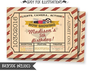 Movie party invitations popcorn party invitations birthday movie ticket invitation movie birthday invitation ticket invitation birthday party movie party filmwisefo