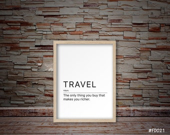 Definition of travel, Funny travel print, Definition travel decor, Funny travel minimalist print, Definition travel quote print   #FD021
