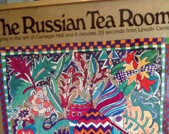 Framed Vintage  Russian Tea Room Poster
