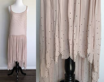 Punk Flapper Dress | 1920s Vintage Flapper Silk Crepe Metal Studded Drop Waist High-Low Dress | Size XS-M