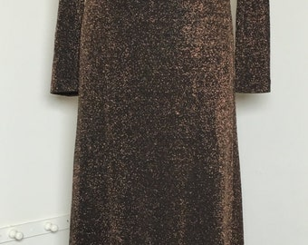 Vintage 1989s Georgiou Studio Glittery Bronze open back Maxi Dress