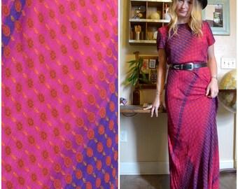 1990s Pink Floral Bohemian Maxi Dress