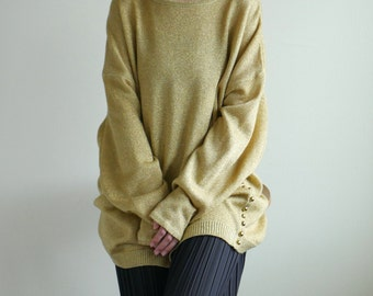 Metallic gold oversized long sweater