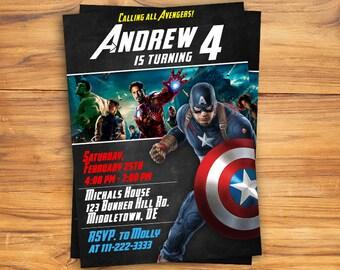 Captain America Invitation. Avengers invitation. Captain America is calling all Super Heroes!! Captain America Birthday.