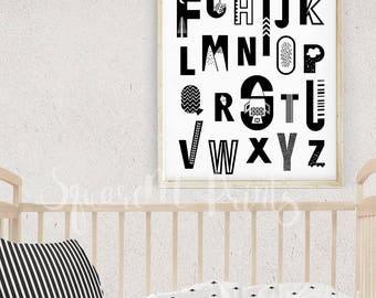 Printable Alphabet Letters, ABC Poster, 16x20 Print, Black and White, Kids Room Decor, Monochrome Scandinavian Nursery, Digital Download Art