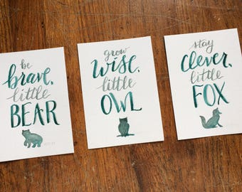 Bear, Fox, & Owl - Woodland Nursery Print Trio