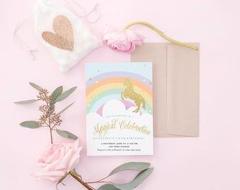 Unicorn Invitation, Unicorn Birthday Invitation, Unicorn Party Invitation, Rainbow Unicorn Stars, Glitter, Unicorn Invitation DIGITAL FILE