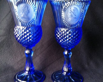 Vintage AVON Fostoria Cobalt Blue Glass Goblets/ Candle holders George & Martha Washington COLLECTIBLE Set of 2
