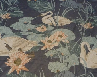 """Vintage - Bloomcraft  """"American"""" enormous 12"""" Swans-a-swimming on a slate blue lily pond"""