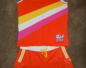 Retro LIMITED TOO Mod Shorts Set Tank Top 1990s New with Tags Deadstock LTD2 Girls Size 16 XL Orange Pink Yellow Nostalgia Vintage Outfit