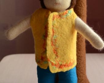 Wool doll Cloth doll Toy boy,  needle felted boy dolls, felt plaything, wool gift for children, baby puppet needle felt people