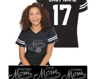 Rhinestone Sports Mom Shirts- Football Mom Shirts, Basketball Mom, Baseball Mom, Soccer Mom,Hockey Mom, Dance Mom, Cheer Mom Jerseys