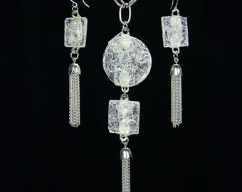 Fractured Light- lite Glass(crackle)handmade pendent and earrings fired in my kiln and dropped in ice, and silver tassels added.