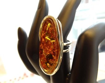 Amber Ring - Amber Silver Ring - Amber Jewelry - Size 8 USA