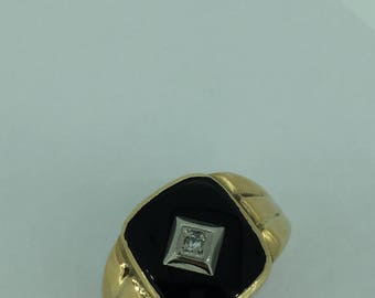 10kt Yellow Gold Men's Diamond Onyx Ring at an Incredible Price