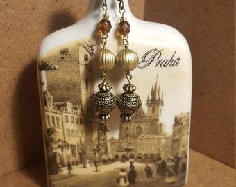 Bohemian, Boho, Moroccan Inspired, Antique Bead, Long Dangly Earrings.