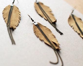 Long Leather Earrings- Leather Earrings- Dangle Earrings- Recycled Earrings- Boho Earrings- Feather Earrings- Brown Earrings